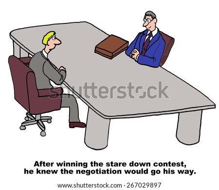 Cartoon of two businessmen during a negotiation, after winning the stare down contest he knew the negotiation would go his way. - stock photo