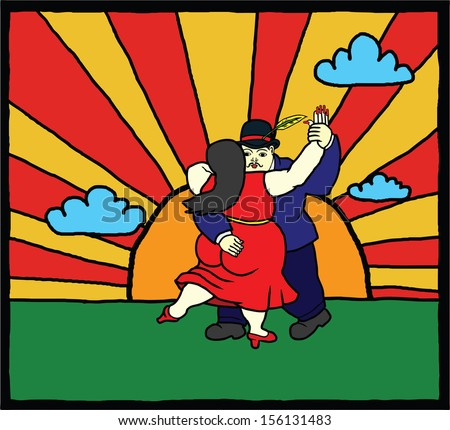 Cartoon of two lover dancing tango until the sun rises for the concept of party all night until dawn.   - stock photo