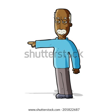 cartoon old man gesturing Get Out! - stock photo