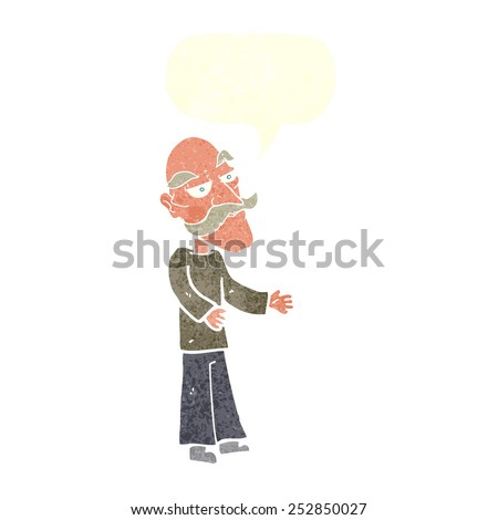 cartoon old man with mustache with speech bubble - stock photo