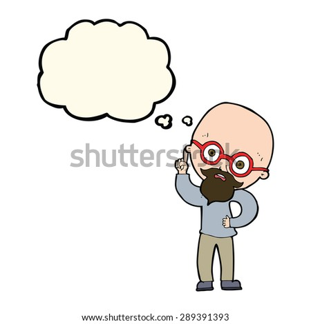 cartoon old man  with thought bubble - stock photo
