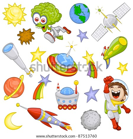 Cartoon outer space set (raster illustration) - stock photo