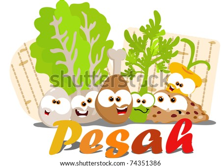 Cartoon Passover seder foods together - stock photo