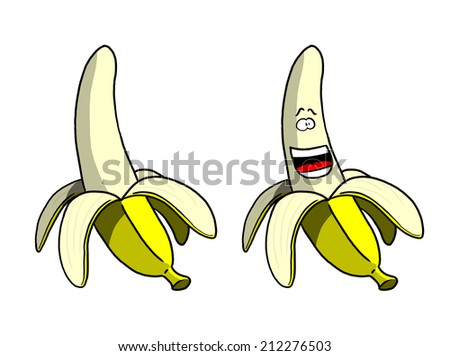 Cartoon Peeled Banana and Smiling Peeled Banana - stock photo