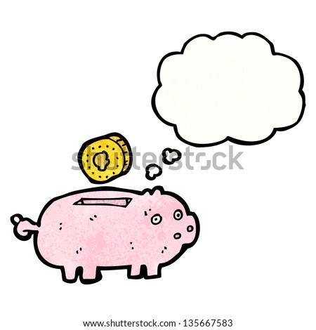cartoon piggy bank - stock photo