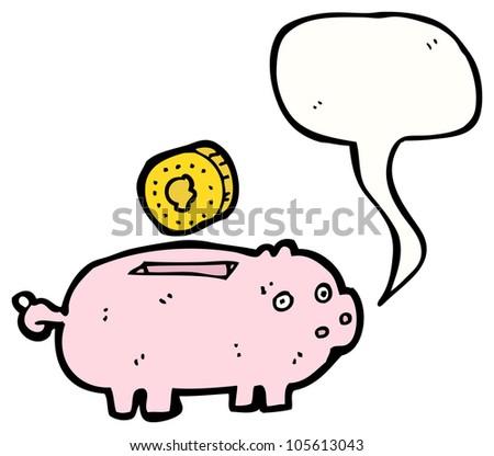 cartoon piggy bank with speech bubble - stock photo