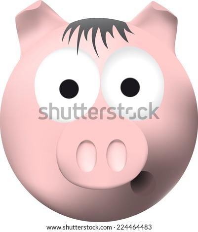 Cartoon pink pig - stock photo