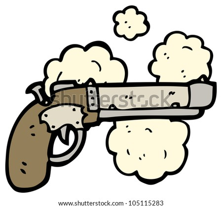 cartoon pistol - stock photo