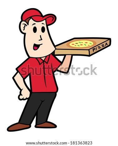 cartoon pizza delivery man  - stock photo