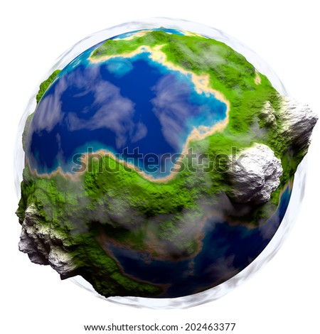 Cartoon Planet earth with some clouds over white background - stock photo