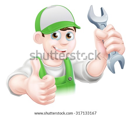 Cartoon Plumber or mechanic with a wrench or spanner in green dungarees giving a thumbs up - stock photo