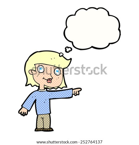cartoon pointing person with thought bubble - stock photo
