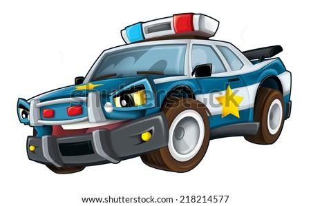 Cartoon police - illustration for the children - stock photo