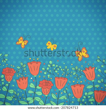 Cartoon postcard in dark tones. Summer illustration with flowers. Ideal for celebration card or poster - stock photo