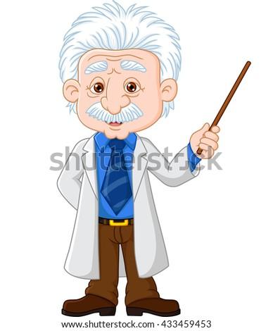 Cartoon professor explain - stock photo