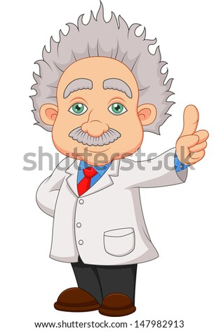 Cartoon professor thinking - stock photo