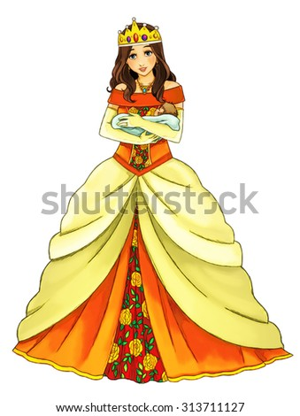 Cartoon queen - isolated - illustration for the children - stock photo