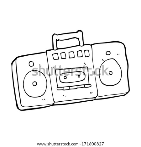cartoon radio cassette player - stock photo