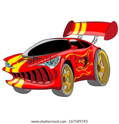 Cartoon red sport car isolated on white background. - stock photo