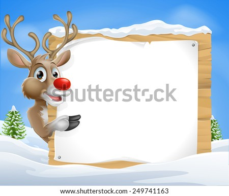 Cartoon reindeer Christmas Sign of a cute cartoon Christmas Reindeer peeking round a snowy sign and pointing - stock photo