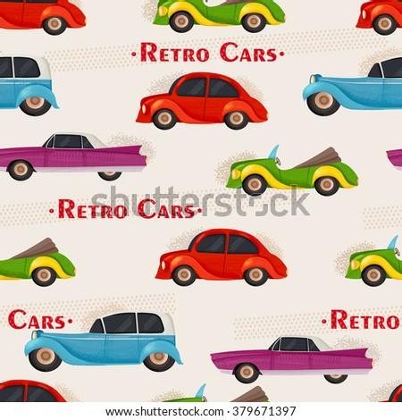 Cartoon retro cars pattern.  - stock photo