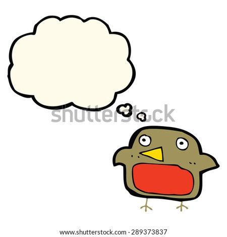 cartoon robin with thought bubble - stock photo