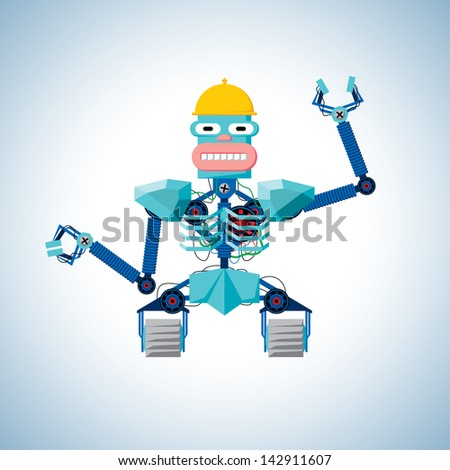 Cartoon robot with claws and in yellow helmet - stock photo