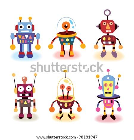 cartoon robots set - stock photo