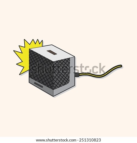 cartoon rock music Loudspeaker   - stock photo