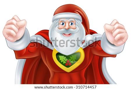 Cartoon Santa Claus Christmas superhero character - stock photo