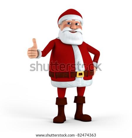 Cartoon Santa Claus giving thumbs-up - high quality 3d illustration - stock photo