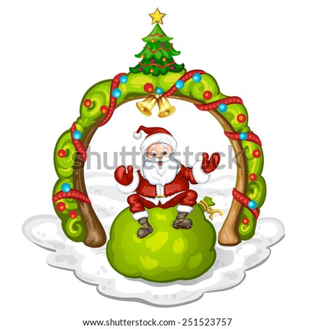 Cartoon Santa Claus smiling and sitting on bag - stock photo