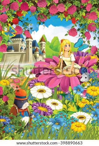 Cartoon scene of a girl on the flower with animal friends - rodents - illustration for children - stock photo