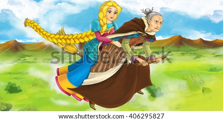 Cartoon scene of a witch flying with a young girl on a broom - illustration for children - stock photo