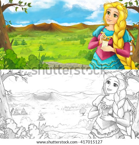Cartoon scene of a woman - princess - looking around - near the meadow - with coloring page - illustration for children - stock photo