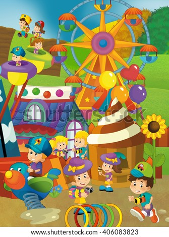 Cartoon scene of kids playing in the funfair - illustration for children - stock photo
