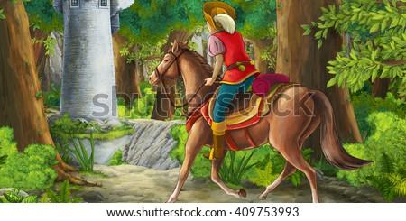Cartoon scene on a horseman encountering hidden tower - in the forest - illustration for children - stock photo
