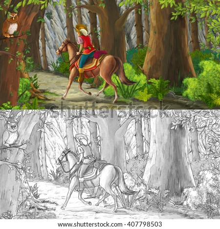 Cartoon scene with a horseman riding through the forest to unknown - with coloring page - illustration for children - stock photo