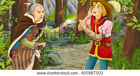 Cartoon scene with a noble man and a witch that cast spell on him - illustration for children - stock photo
