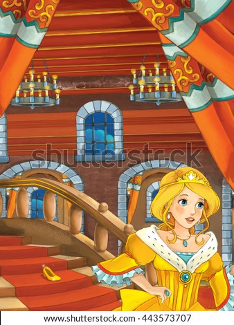 Cartoon scene with beautiful princess coming out of the castle - illustration for children - stock photo