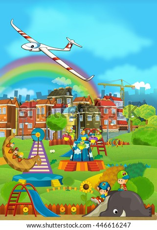 Cartoon scene with children having fun at the playground - glider plane over the city - illustration for children - stock photo