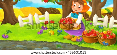 Cartoon scene with farm woman in garden during beautiful day - working - gathering apples - illustration for children - stock photo