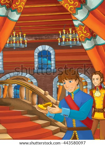 Cartoon scene with prince finding golden shoe on the stairs - illustration for children - stock photo