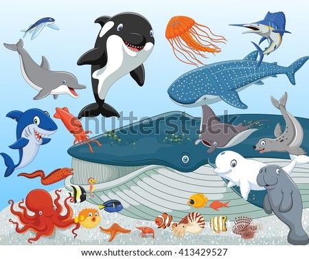 Cartoon sea animals - stock photo