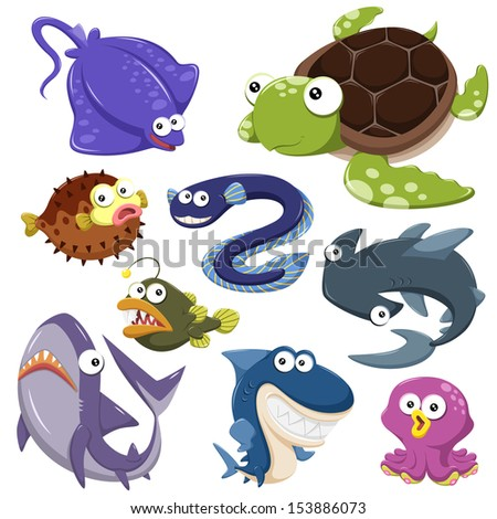 cartoon sea animals collection with white background - stock photo