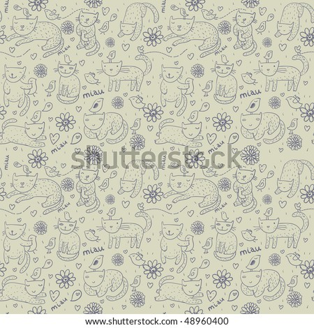 Cartoon seamless pattern with funny cats - stock photo