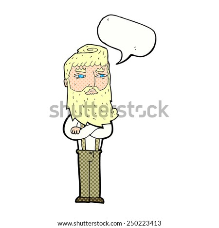 cartoon serious man with beard with speech bubble - stock photo