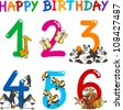 Cartoon Set Illustration of Birthday Anniversary Numbers with Funny Animals or Insects - stock photo
