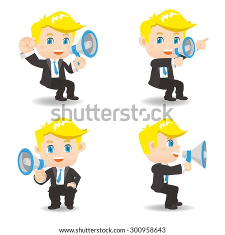 Cartoon set of Businessman sit and show trumpet and , caucasian - stock photo