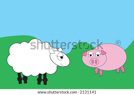 Cartoon sheep and pig in a field - stock photo